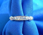 1920s Art Deco Real Diamond Round European cut accented Anniversary Wedding Band Vintage Antique Platinum Eternity ring