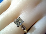 ART Deco Asscher Emerald cut Solitaire NATURAL DIAMOND Vintage Engagement ring Hand crafted wedding ring from my studio