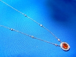 Designer Precious Orange Fire Opal and Diamonds Deco Pendant Necklaces 14k White Gold