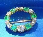 1920s Art Deco Diamond Antique Emerald Circle Pin handcrafted Brooch or Charm Pendant 18k