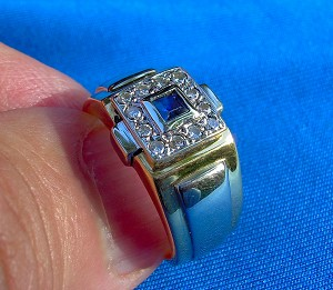 Designer 18k Gold Deco Diamond Sapphire Engagement ring Unique Hand made Vintage estate Solitaire two tone setting