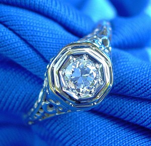 BELAIS Art Deco round European Cut Diamond Engagement Ring Antique 1920s Vintage Custom made Designer Solitaire